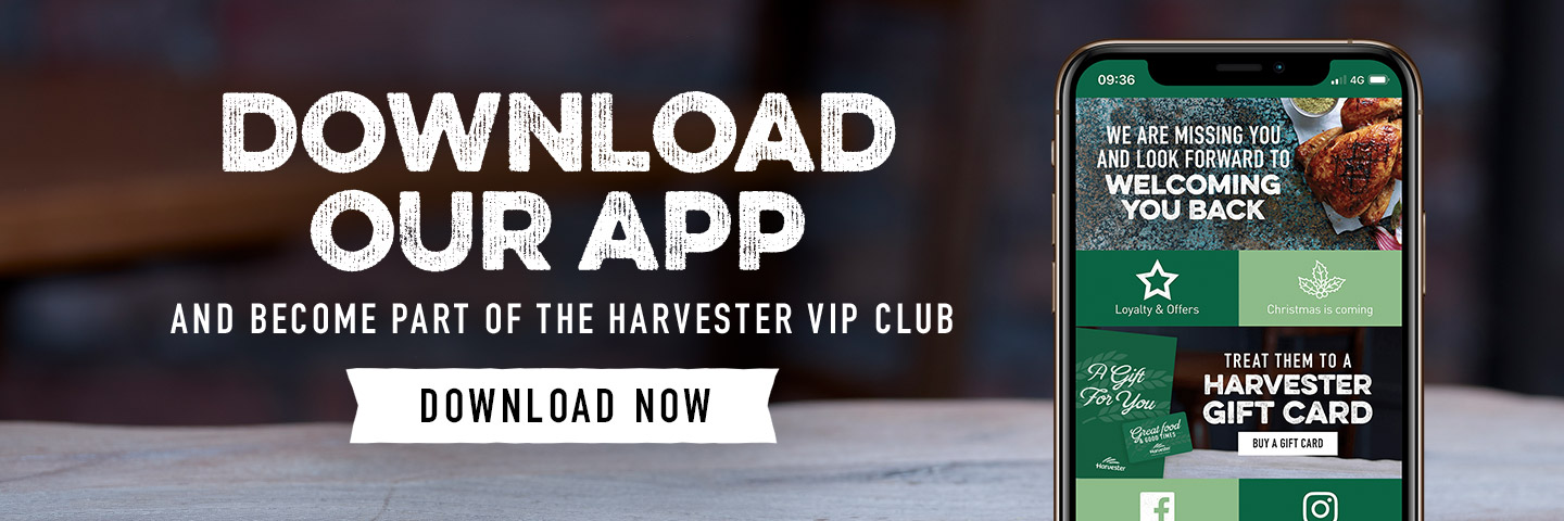 Download the Harvester app at The Winding Wheel