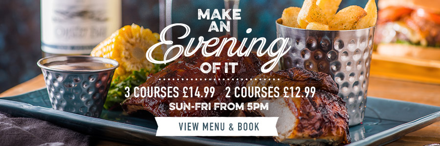 Evening set menu at Harvester