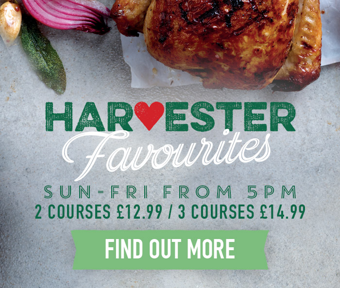 Evening Menu at Harvester Paignton