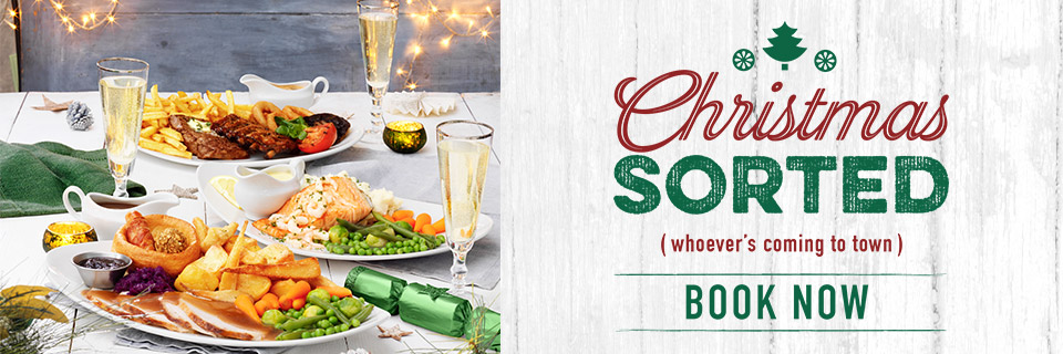 Book now for Christmas at Harvester
