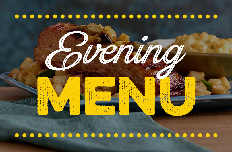 Evening menu at Harvester Meridian Park