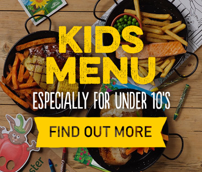 Kids menus available at Harvester Centertainment