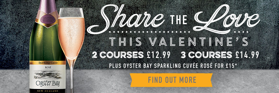 Book now for Valentine's Day 2019 at Harvester Paignton