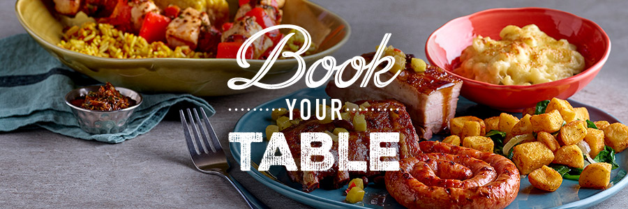 Book a table for a friendly dining experience at Harvester