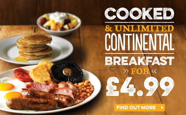 Unlimited Breakfast at Harvester Pavilions
