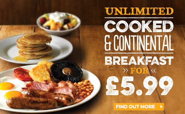Unlimited Breakfast at Harvester Port Solent