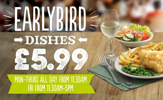 Check out our Earlybird Menu at Harvester Trinity Square