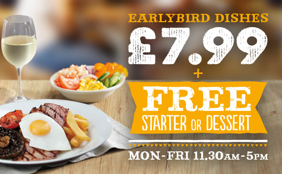 Check out our Earlybird Menu at Harvester Riverside