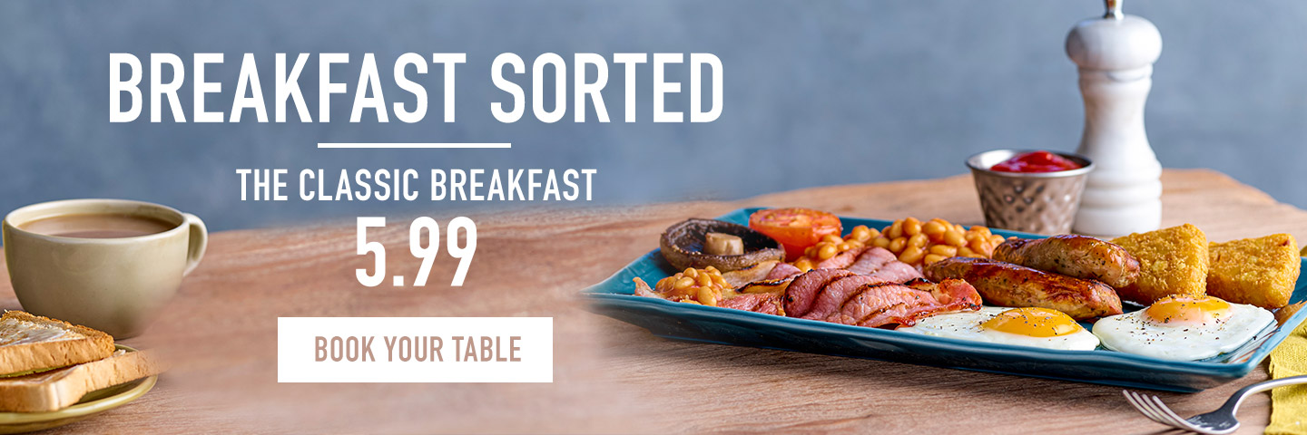 Breakfast menu at Harvester The Lowry