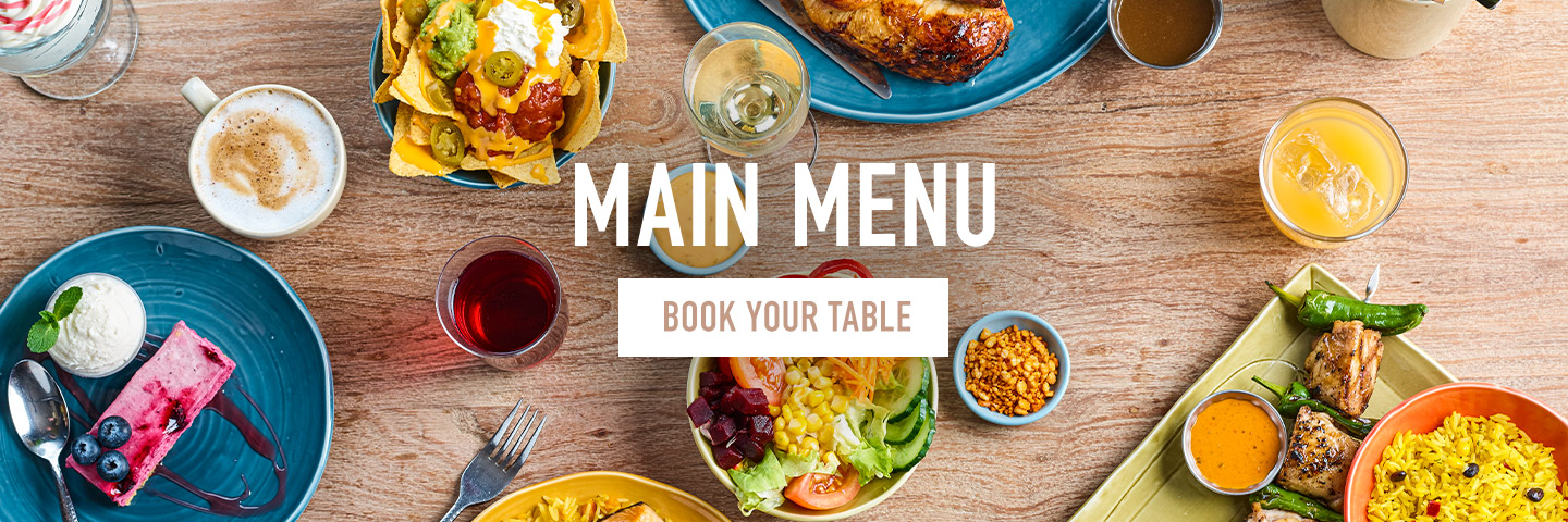 Main menu at Harvester Riverside