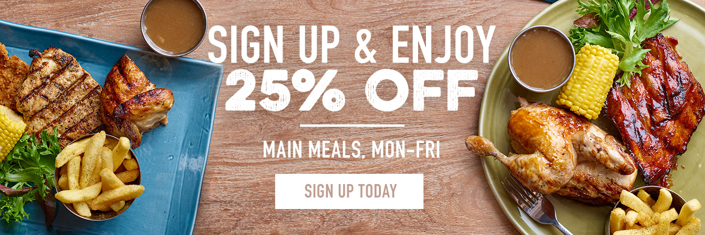 25% off mains at Harvester