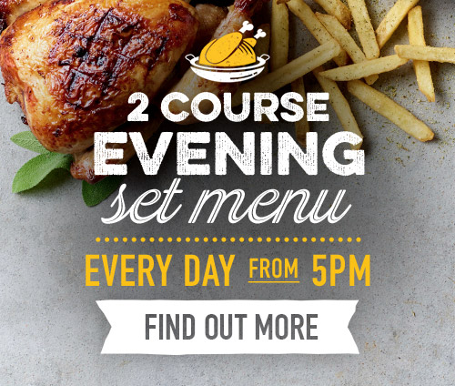 2 course evening set menu at Harvester