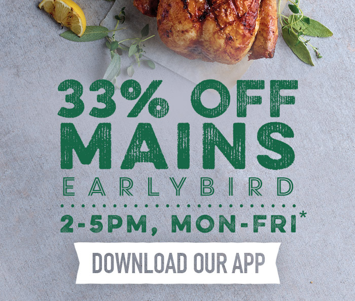 Earlybird Menu at Harvester New Square