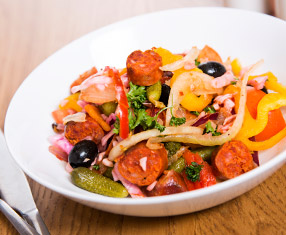 Try our spicy chorizo and tomato salad