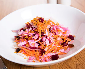 Make your own tangy pink slaw salad