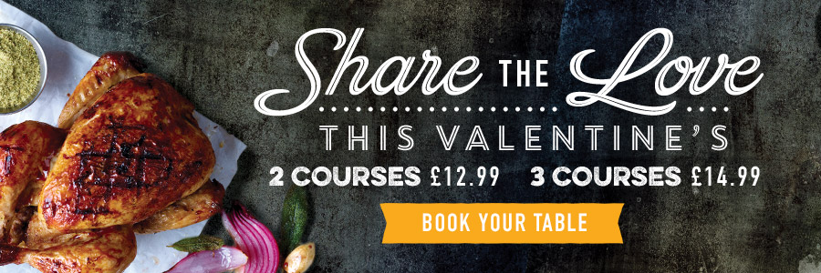 Book now for Valentine's Day 2019 at Harvester